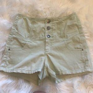 Sneak Peek Mint High Waisted Small Shorts